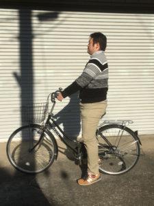 自転車のサドルの高さが適切な状態