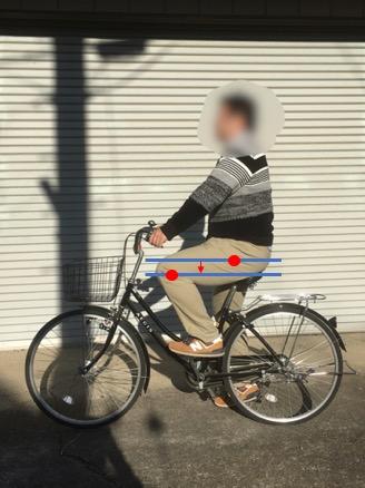 股関節が膝関節よりも高い位置にあるようにサドルを調節すると自転車が乗りやすく、負担も少ない