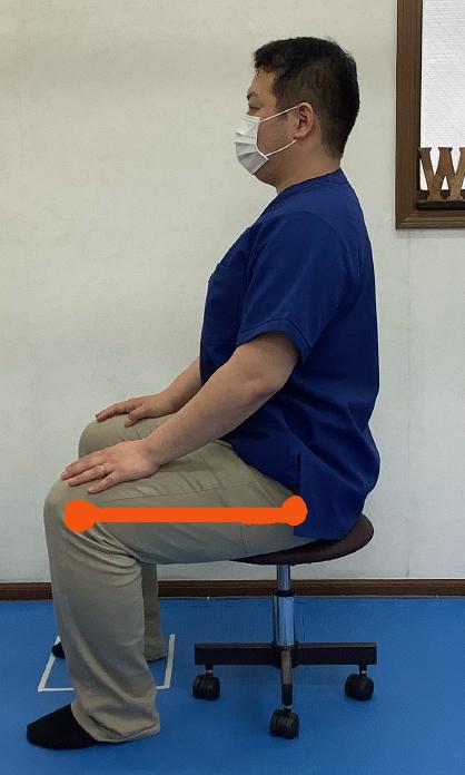 座った時、股関節と膝関節が水平の位置にある