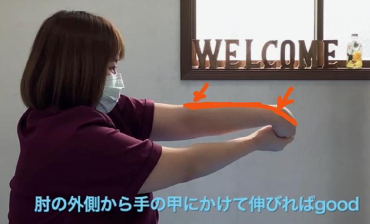 手指伸筋群・腕橈骨筋のストレッチ