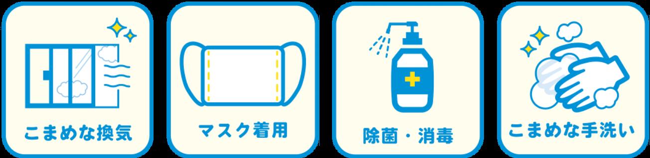 新型コロナウイルス感染対策予防としてこまめな換気・マスク着用・除菌・消毒・こまめな手洗いを徹底しております