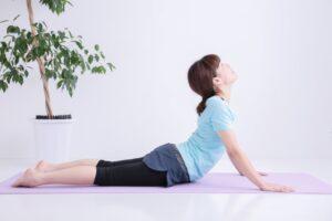 うつ伏せの状態から手で床を押しながら上半身を反らす体操(体幹伸展体操)