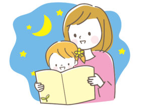 夜寝る前は、タブレットを使って寝かしつけるのではなく、絵本の読み聞かせや本を読むなどして強い光刺激が入らないように工夫しましょう。