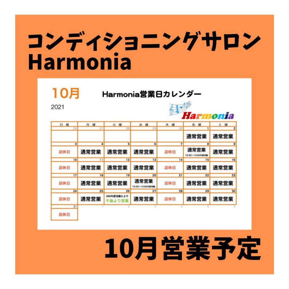 埼玉県熊谷市石原にある整体サロン『コンディショニングサロンHarmonia』です。10月の営業予定日をお伝えします。
